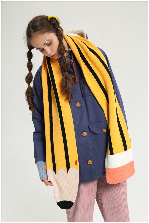 nuevos de invierno y otoo bufanda de lana de tejer rayas bufanda del collar de