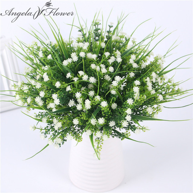 حية P. tenuiflora الأخضر حشائش بلاستيكية النباتات زهرة اصطناعية babysbreath الزفاف المنزل زينة عيد الميلاد حزب مكتب زهرة