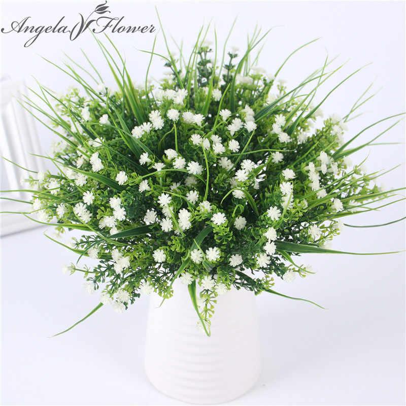 Vívido p. tenuiflora verde plantas de grama de plástico artificial flor babysbreath casamento casa decoração natal festa escritório flor