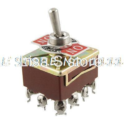 On/Off/On 3 Way 4PDT 4P2T Latching Toggle Switch AC 15A/250V 10A/380V image
