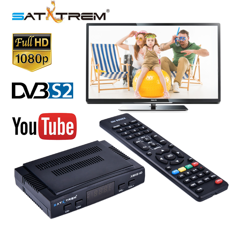 Satxtrem X800S HD DVB-S2 Digital Satellite TV Receiver DVB S2 FTA Sat TV Decoder Full 1080P HD Set Top Box Support USB PVR