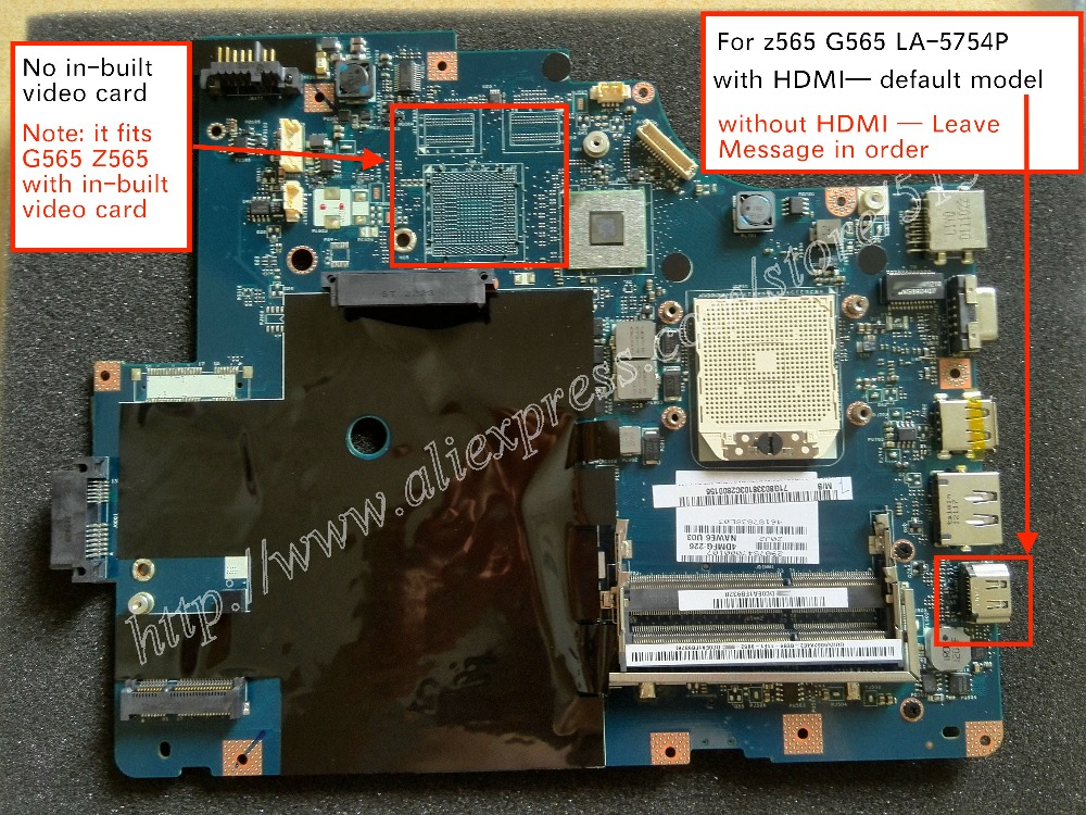 Free Shipping For Lenovo G565 Z565 Laptop motherboard LA 5754P mainboard ( with HDMI port )