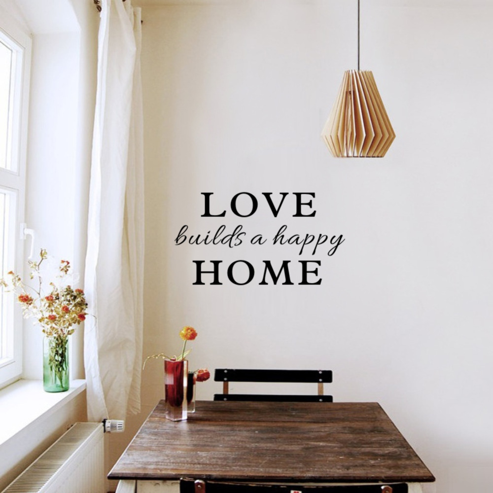 Us 404 12 Offfamily Wall Quotes Sticker Love Builds A Happy Home Art Vinyl Decal For Room Decor In Wall Stickers From Home Garden On Aliexpress