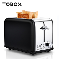 TOBOX 2 Slice Toaster Sandwich Maker Bread Toaster Oven Baking Removable Tray Stainless Steel Cooking Machine For Breakfast
