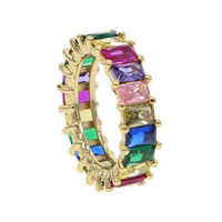 rainbow baguette cubic zirconia cz Gold filled engagement band ring for women USA hot selling drop shipping female jewelry