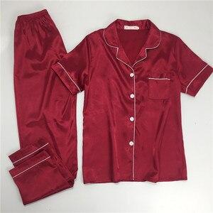 Image 4 - パジャマ女性の大サイズ M 5XL シルクパジャマポケットホーム服固体パジャマ女性のためのパジャマファムホームスーツスパースター mujer