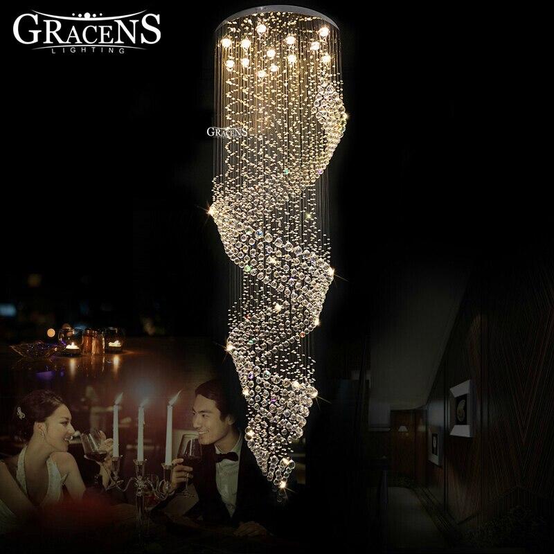 Luxuoso Longa Espiral de Cristal Do Teto Luminária Embutida Lâmpada Do Teto para a Escadaria Foyer Iluminação Villa Lobby Do Hotel
