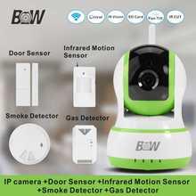Red inalámbrica wifi cámara + sensor de puerta/infrarrojos motion sensor/detector de humo/gas 720 p hd ip sistema de cámara de alarma bw13gr