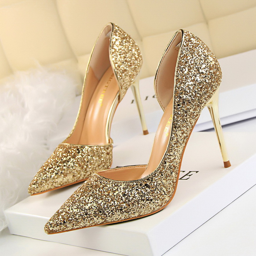 Summer Women Pumps Thin Heel Shoes Ladies High Heels Sandals Sexy Pointed Toe Sequins Night Club Party Wedding Shoes BTR730 brand shoes woman spring summer rainbow women pumps high heels fashion sexy slip on pointed toe thin heel party wedding shoes
