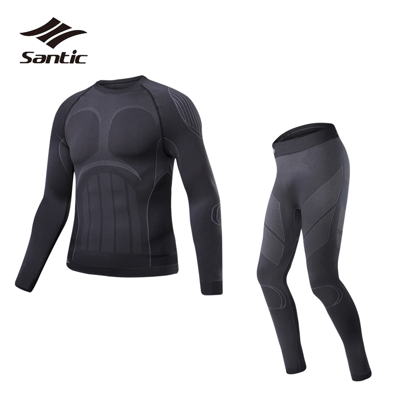 все цены на Santic Winter Thermal Underwear Men Sport Cycling Base Layer Quick Dry Breathable Pro Outdoor Fitness Running Bike Base Layer