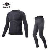 Santic Winter Thermal Underwear Men Sport Cycling Base Layer Quick Dry Breathable Pro Outdoor Fitness Running Bike Base Layer