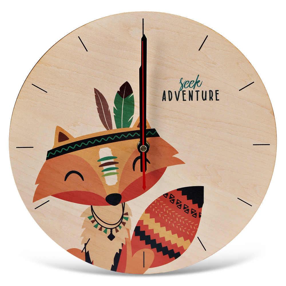 Round Silent Wooden Wall Clock Cartoon Indian Fox Print Wall Clocks