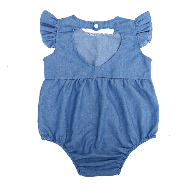 07d5345a1b Baby Denim Rompers Newborn Ruffles Denim Romper Toddler Kid Baby Girl  Summer back heart hollow Jeans Jumpsuit 0-24M