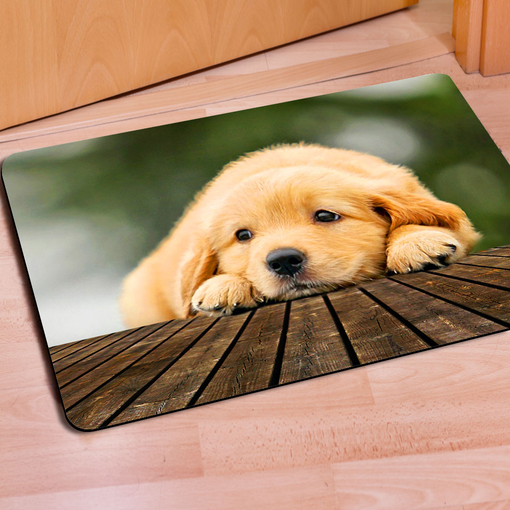 2016 New Fashion Puppies Dogs Doormat Living Room Bathroom Carpet Anti-Slip Floor Mat Tapetes Cute Lovely Animal Carpet Door Rug