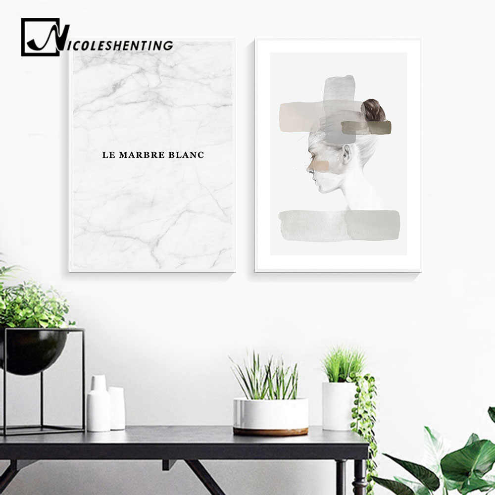 Marble Girl Abstract Canvas Fashion Posters Nordic Wall Art Prints Scandinavian Style Painting Decoration Pictures Room Decor