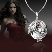 925 Silver Vampire Diaries Elena Lucky Verbena Pendant Necklace, Sterling Silver Locket Charm Necklace