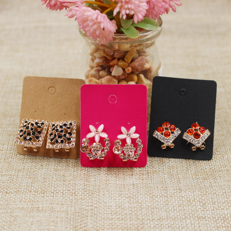 Kraft/rose /black Color Blank Claw Earring Card Paper Jewelry Hanging Display Tag Card 200pcs Per Lot 5*4cm