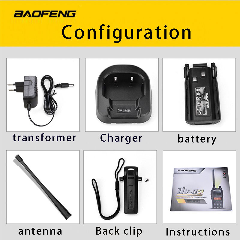 Image 5 - (1pcs)Walkie Talkie BaoFeng UV 82 Dual Band 136 174/400 520 MHz FM Ham Two Way Radio Transceiver Super Power BaoFeng UV82-in Walkie Talkie from Cellphones & Telecommunications
