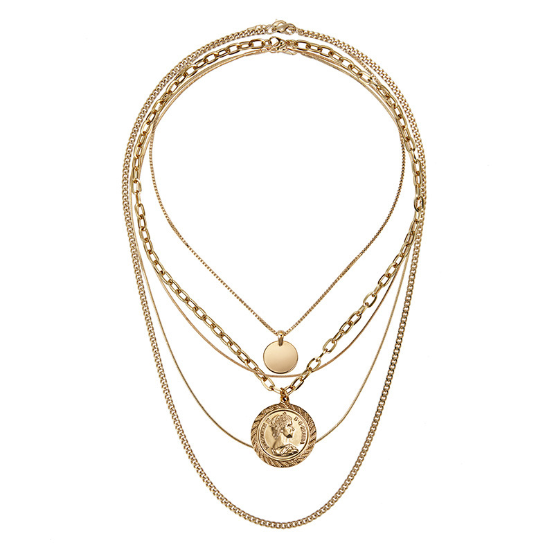 Rongho New design Multi layers Metal Human head chokers necklace women Gold coin circle pendant necklace Vintage chains necklace Ожерелье