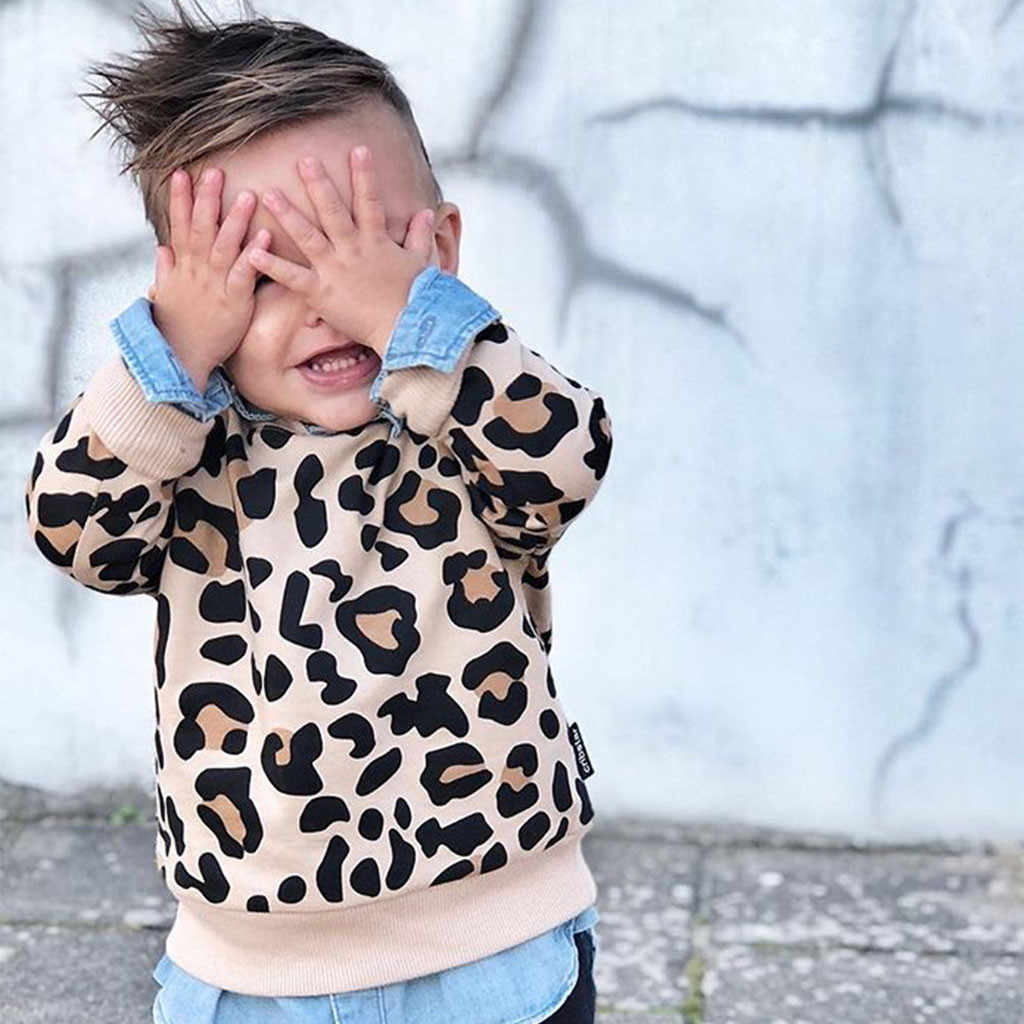 Long Sleeve Sweatshirts Hoodies Pullover Jumper Cotton Spring Clothing Kids Baby Girl Boy Bunny Leopard Print For Baby Clothes