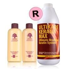 1000MLchocolate 5% Formaldehyde keratin treatment  and 80ml  keratin purifying Shampoo hair repair set cheap 1000mlchocolate keratin treatment 8