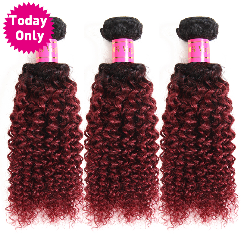 [TODAY ONLY] Burgundy Ombre Brazilian Hair Kinky Curly Weave Human Hair Bundles 1b 99j Non Remy Hair Can Buy 3 or 4 Bundles