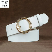 2017 womens newest Genuine leather gg belts round pins buckle simple luxury brand fashion off white wedding waistbands for jean(China (Mainland))
