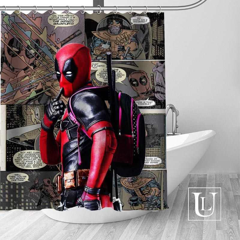 Custom מארוול Deadpool מקלחת וילון יותר גודל עמיד למים בד לרחצה דקור Dropshipping