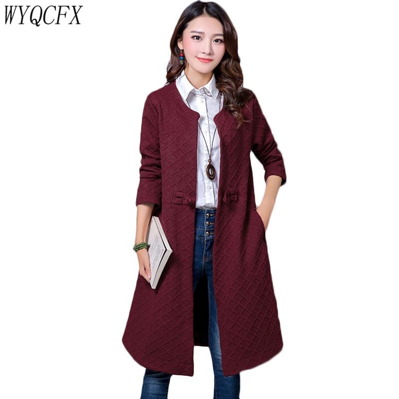 Autumn Winter Korean Windbreaker Women 2019 Fashion Casual Long Coat Cardigan Button Full Sleeve Loose   Trench   Plus Size 2XL W213