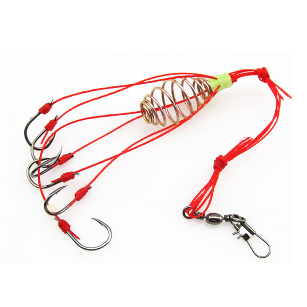 4Pcs/Lot Explosion Fishing Hook Fishing Lure Bait Trap Feeder Cage Sharp Fishing Hook With Stainless Steel Springs