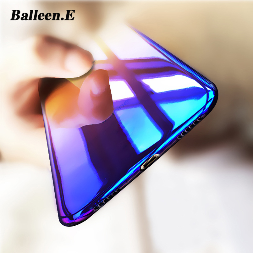 Balleen.E Phone Cases For iPhone 7 6 6s Plus Luxury Gradient Blue Ray Color Clear Hard PC Back Cover Case Capa Coque For iPhone7