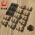 KAK 12pcs 34x28mm Antique Bronze Iron Padlock Hasp Hook Lock For Mini Jewelry Wooden Box With Screws Furniture Hardware