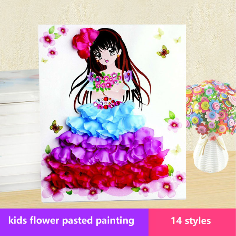 Child:  14 Designs Creative Child DIY Flower Petals Pasted Painting Frame Diamond Stickers Puzzle Toys For Kids Arts and Crafts Pictures - Martin's & Co