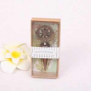 Image 3 - 10pcs Metal Wine Bottle Stoppers Travel Theme Wedding Guests Gift Stopper Compass Wedding Souvenirs Wine Accessories