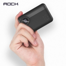 ROCK 10000mAh LED Display Mini Power Bank 18W Type C PD3.0 Quick Charge 3.0 Portable External Battery for iPhone Samsung Huawei