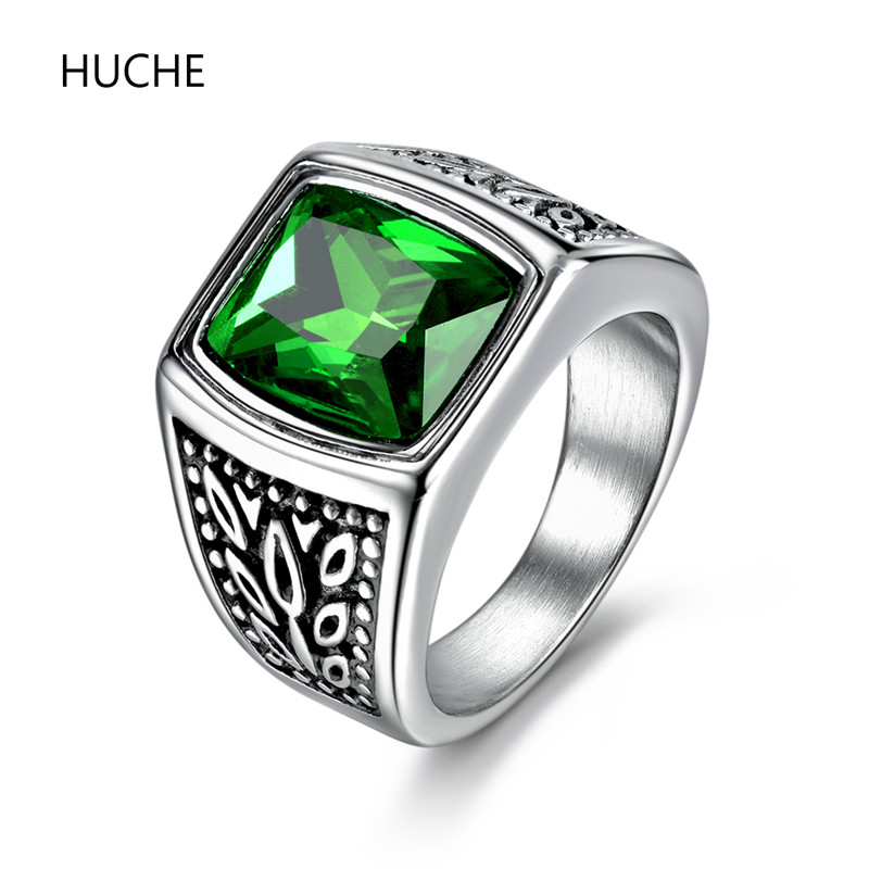 huche vintage engraved stainless steel ring