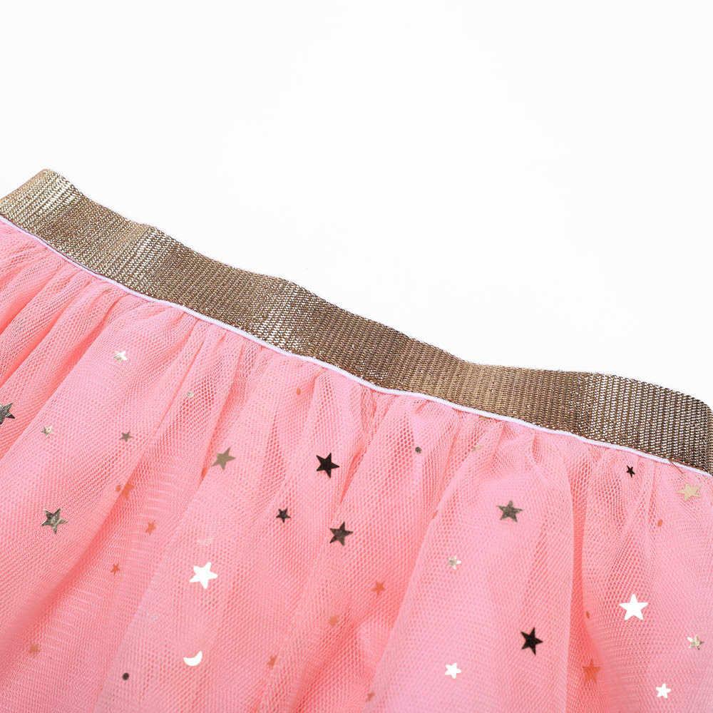 Kids Baby Star Glitter Dance Tutu Skirt For Girl Sequin 3 Layers Tulle Toddler Pettiskirt Children Chiffon Skirt 3-7T