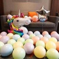 1 set Unicorn Aluminum Foil Balloons Double Macarons Latex Ballon Children Happy Birthday Balloon Unicorn Party Supplies