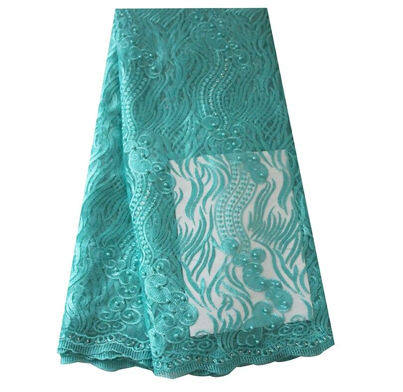 Ourwin liquidation vente Tulle Net dentelle tissu avec perles Aqua africain dentelle tissu de haute qualité Guipure dentelle tissus Orange