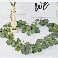 Artificial Eucalyptus Green Ivy Leaves Garland Faux Silk Vine Wedding Greenery Wreath for Wedding Backdrop Home Wall Decor