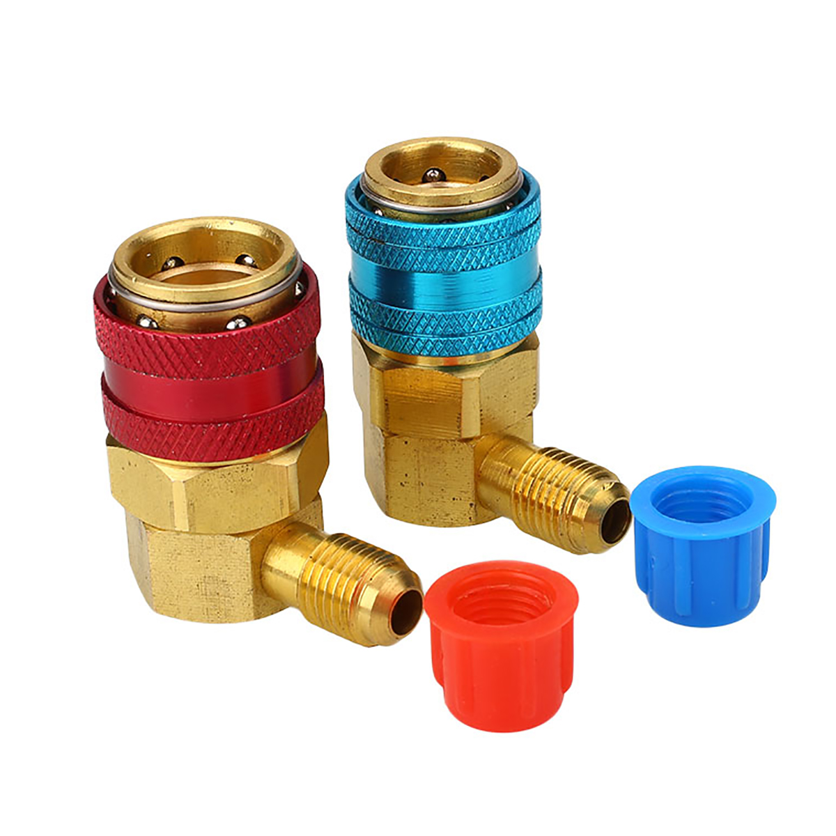 1 Pair Brass AC R134A System Adapters 1/4 SAE Male Mayitr Car Automotive Air Conditioning Quick Connector Adapters Couplers a c system adjustable air conditioner quick couplers connector burgundy for car
