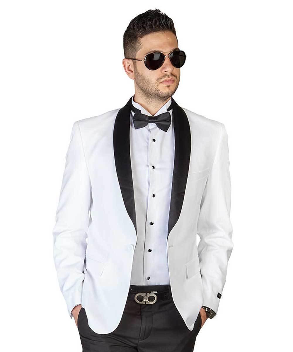Men's Suits Jacket Wedding TuxedoWhite Coat Black Lapel 36W-56 W Regular Custom