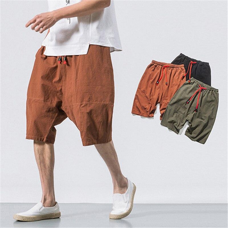 Initiative Casual Mens Shorts Cotton Linen Streetwear Solid Color Bermuda Vintage Drawstring Hip-hop Baggy Knee Length Shorts M-5xl 2019 Casual Shorts