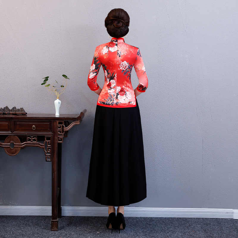 Nieuwe Zomer Womens Blouse Rok Sets Traditionele Chinese 2 pc Shirt Mandarijn Kraag Cheongsam Knop Jurk Plus Size S-XXXXL