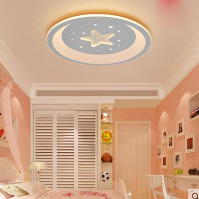 Slim child room ceiling lamp led cartoon lamp boy girl princess warm star month bedroom study lamp led ceiling lamp lighting