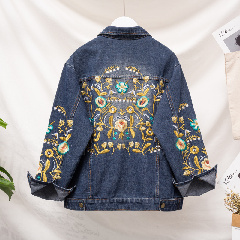 Mm Automne Grande Vent Color Femme Jean Graisse Picture Manteau Bf Style Denim Printemps Veste Femmes Femelle Taille Marée Coréen Broderie r0qqxwtX