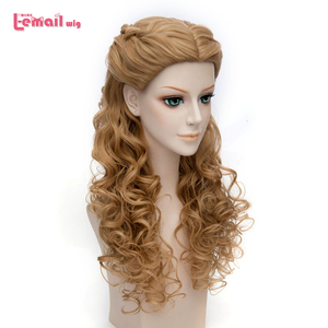 Image 1 - L email wig Brand Hot Sale Women Princess Cosplay Wigs Long Curly Braid Hair Heat Resistant Synthetic Hair Perucas Cosplay Wig
