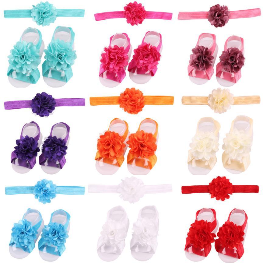 Yundfly 3pcs/set Baby Girls Newborn Flower Headband With Satin Flower Barefoot Sandal Shoes Set Children Accessories Photo Prop