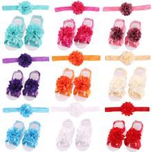 Newborn Shoes-Set Flower Headband Photo-Prop Children-Accessories Baby-Girls Sandal Yundfly