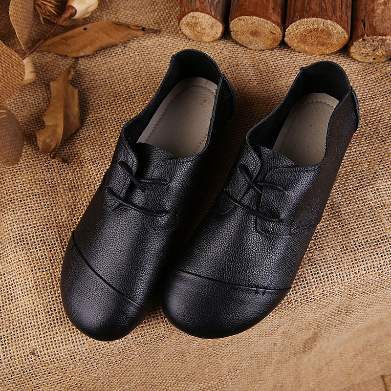 2016 Handmade Shoes Women Genuine Leather Shoes Women Flats Lace Up Cow Leather Vintage Shoes Top